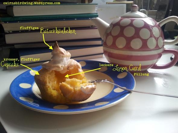 Zitronen-Cupcakes mit Baiserhaube beschriftet
